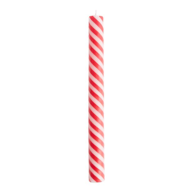 Red and White Candy Cane Taper Candles Set of 3