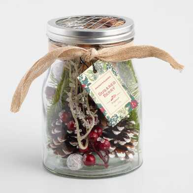 Red Sugared Berry Potpourri Jar