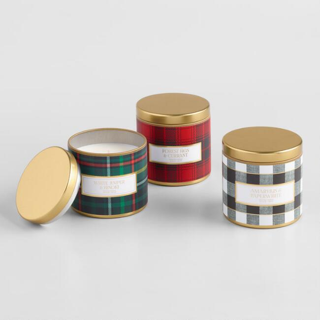 Winter Plaid Tin Filled Candle