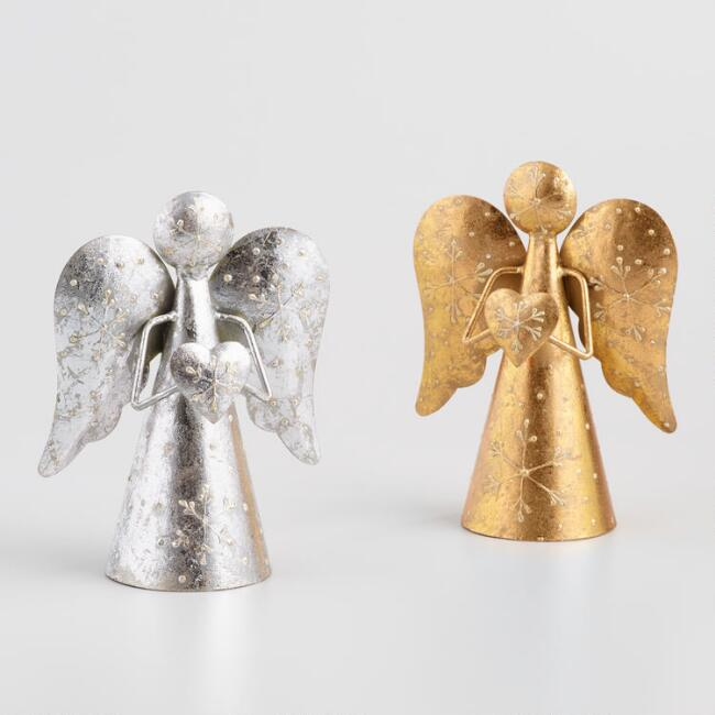 Foiled Metal Angels with Hearts Set of 2