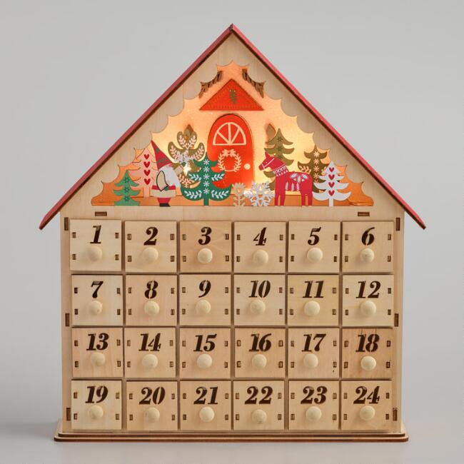 Wood Scandi House LED Light Up Countdown Calendar