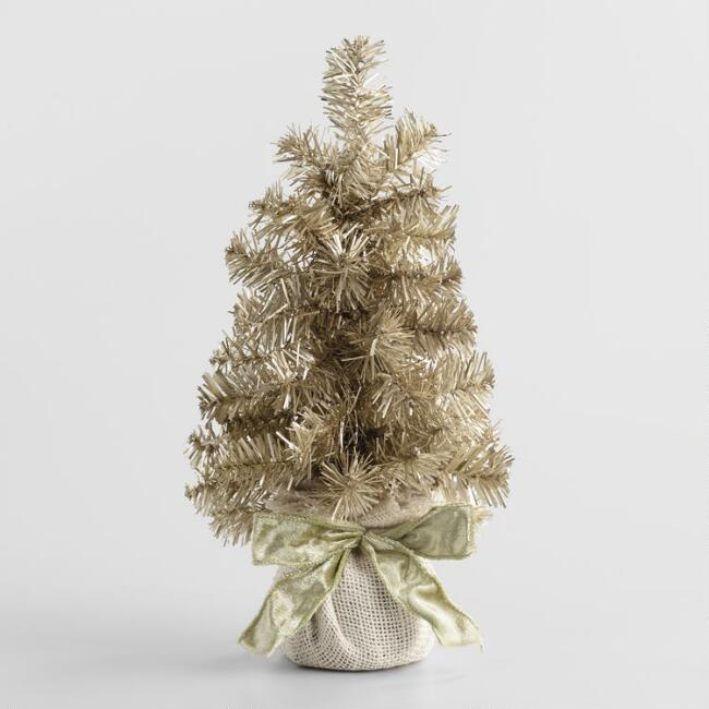 Tinsel Tree with Burlap Base