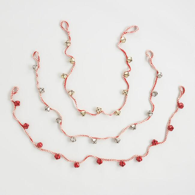 Braided Rope Bell Garlands Set of 3