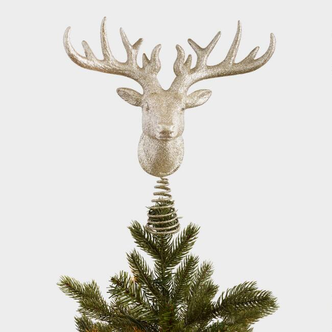 Gold Glittered Stag Head Tree Topper