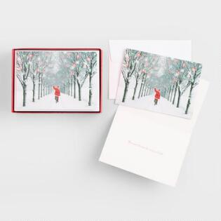 santa on bike boxed holiday cards set of 15 - Unusual Boxed Christmas Cards