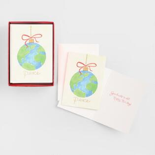 Christmas cards holiday greeting cards world market globe ornament peace boxed holiday cards set of 20 m4hsunfo