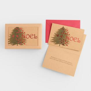kraft noel boxed holiday cards set of 15 - Boxed Holiday Cards