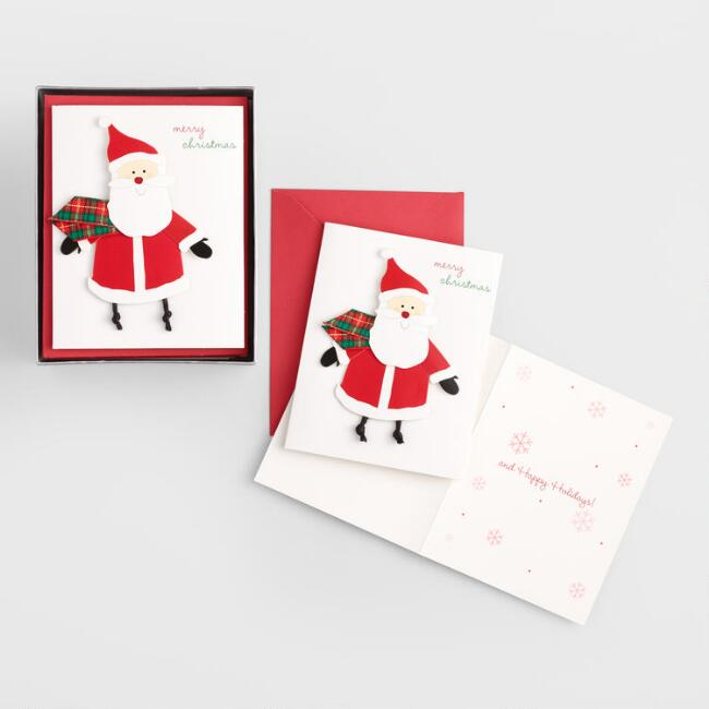 santa with scarf boxed holiday cards set of 15
