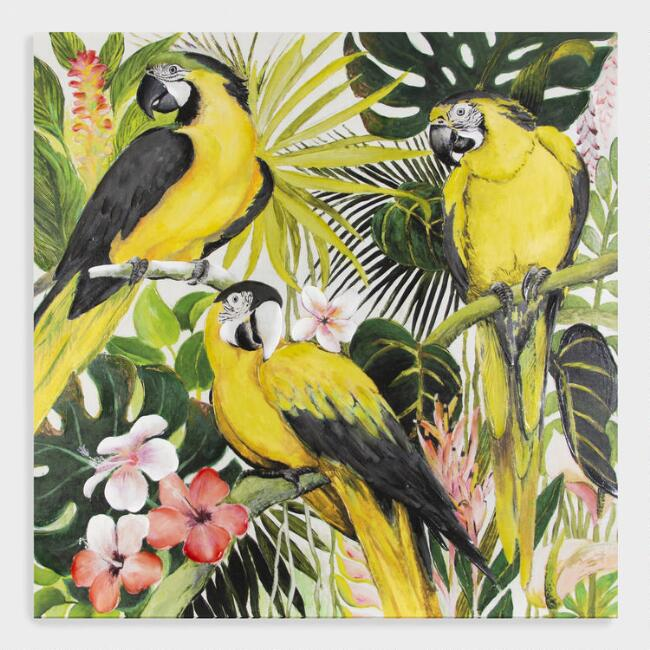 Tropical Parrot Oasis Canvas Wall Art