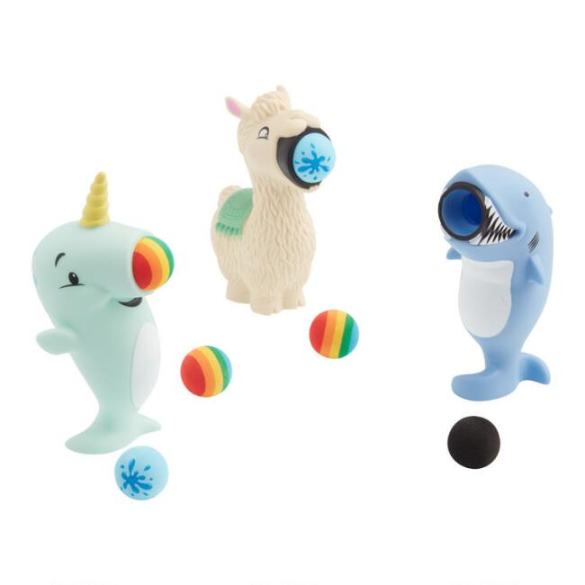 Llama, Shark and Narwhal Toy Poppers Set of 3