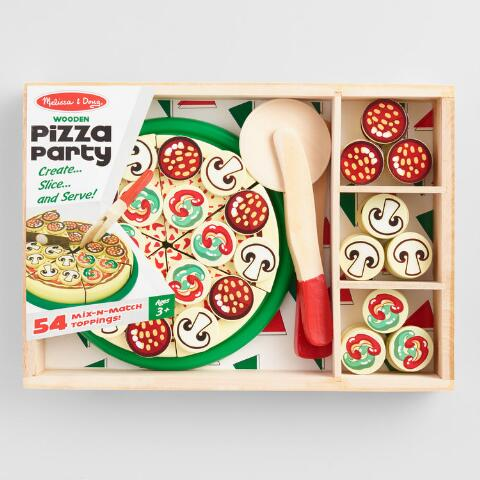 Melissa And Doug Wood Pizza Party Slicing Playset