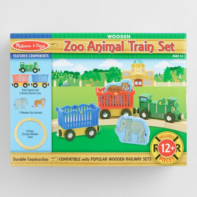 Melissa and Doug Wood Zoo Animal Train Set