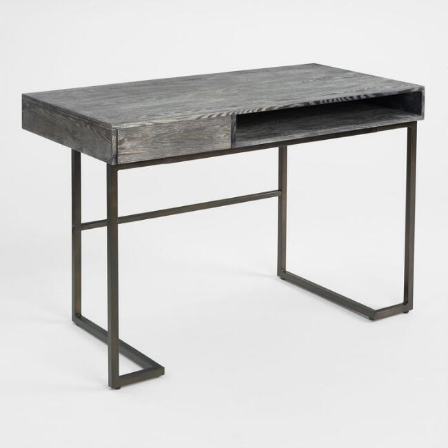 Smoke Gray Wood and Metal Javier Desk