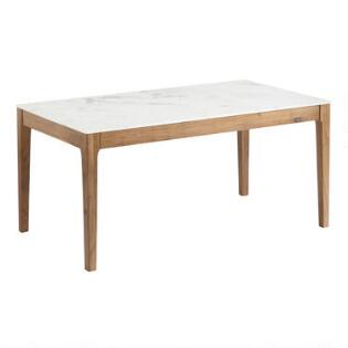 Marble Top And Acacia Wood Fletcher Dining Table