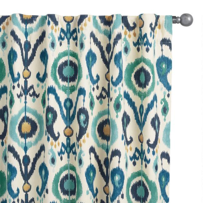 Indigo Ikat Cotton Sleeve Top Curtains Set Of 2