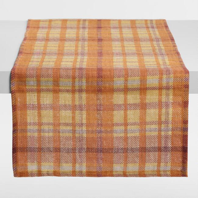 Harvest Plaid Jute Table Runner