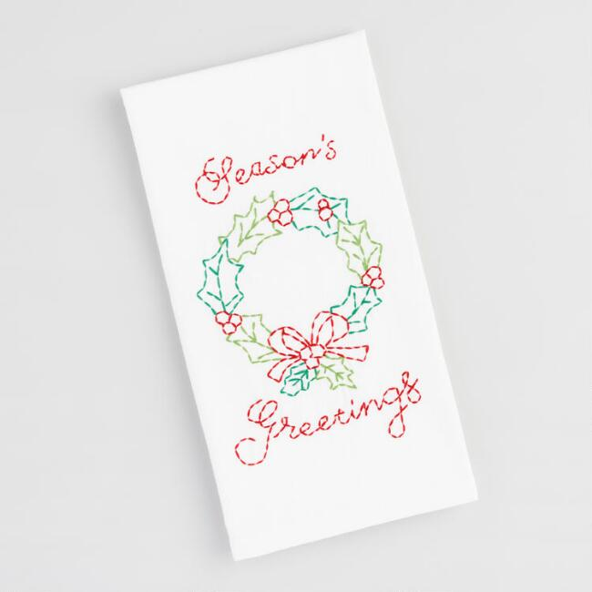 Embroidered Holiday Wreath Kitchen Towel