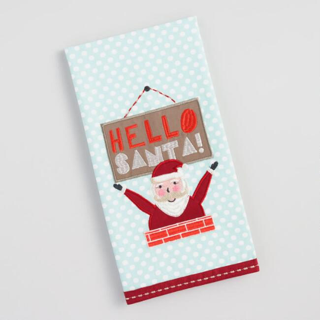 Polka Dot Hello Santa Kitchen Towel