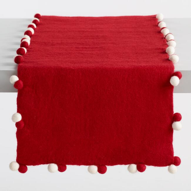 Red Felted Wool Table Runner with Pom Poms