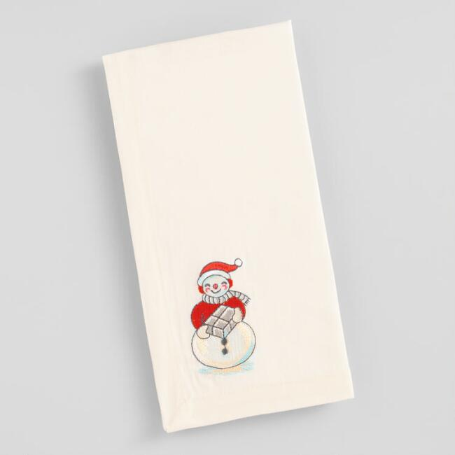 Embroidered Snowman Napkins Set of 4
