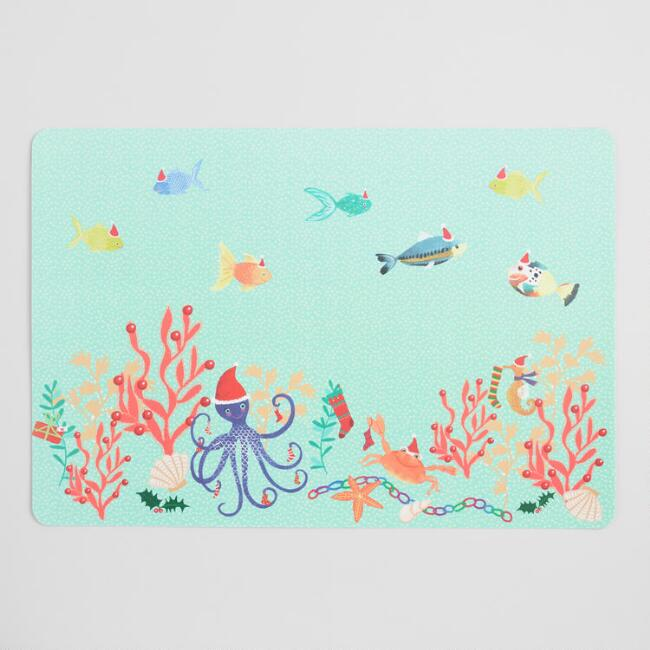 Holiday Ocean Creatures Wipe Off Vinyl Placemats Set of 4