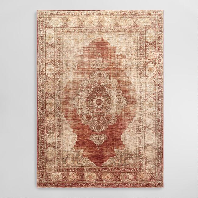 Rust Orange Vintage Medallion Allora Area Rug