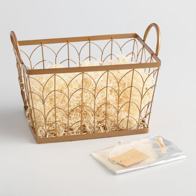 Gold Scallop Wire Gift Basket Kit