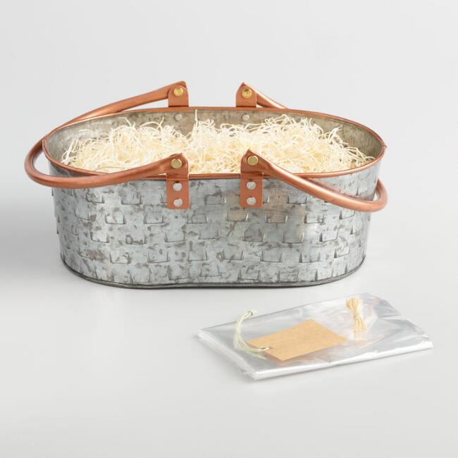 Galvanized Metal and Copper Handle Gift Basket Kit