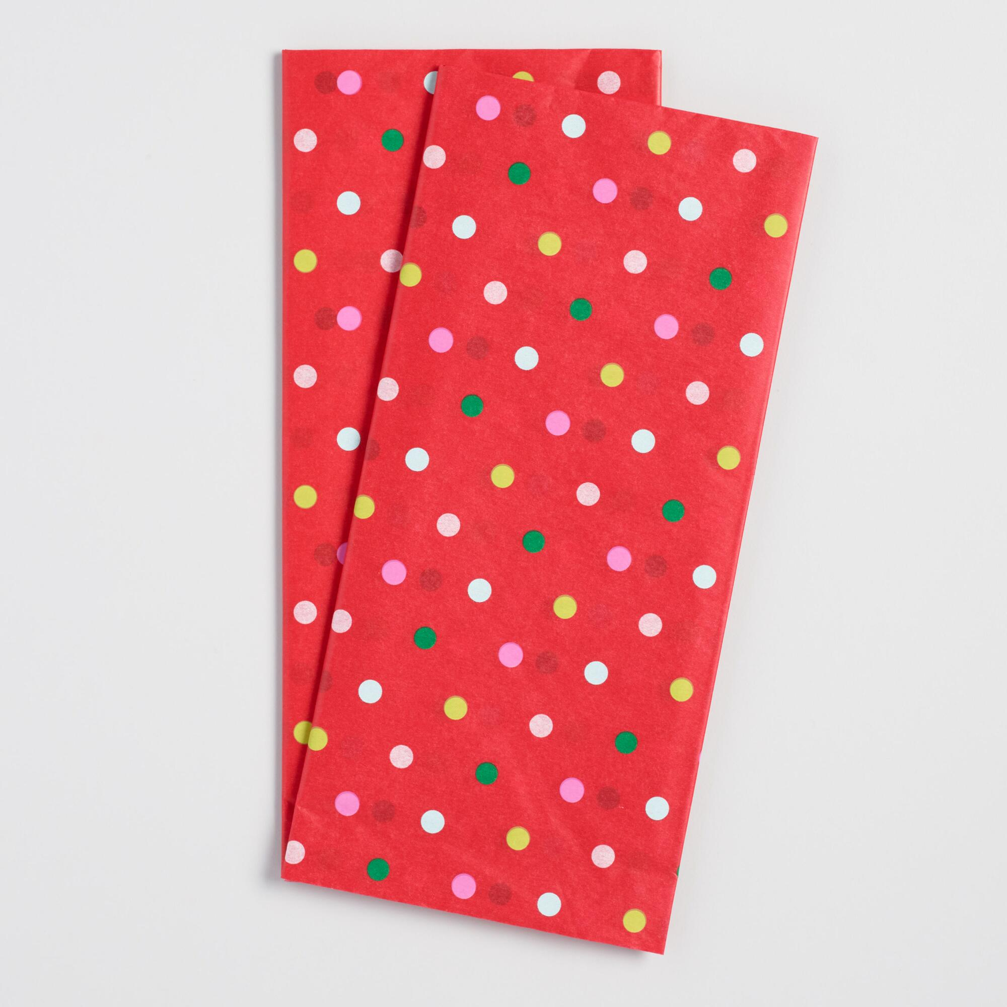 Red and White Polka Dot Tissue Paper Set Of 2 by World Market