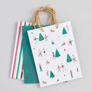 medium christmas village gift bags set of 3