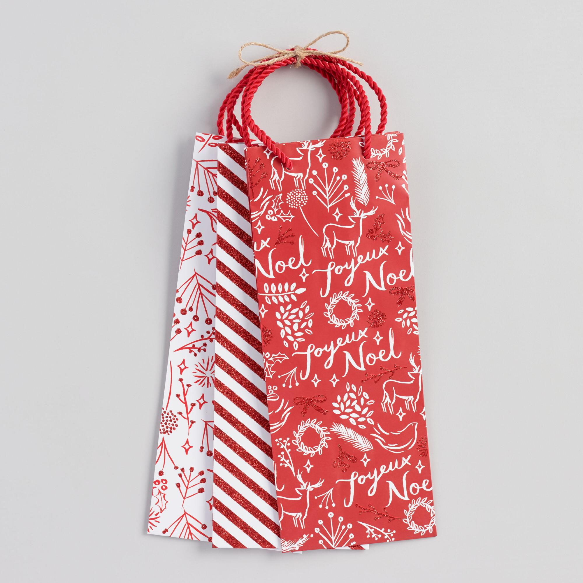 Red And White Patterned Wine Gift Bags Set Of 3 by World Market