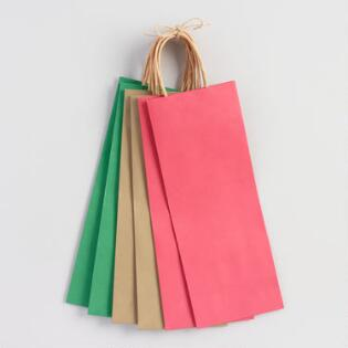 Solid Colored Holiday Wine Gift Bags Set Of 6
