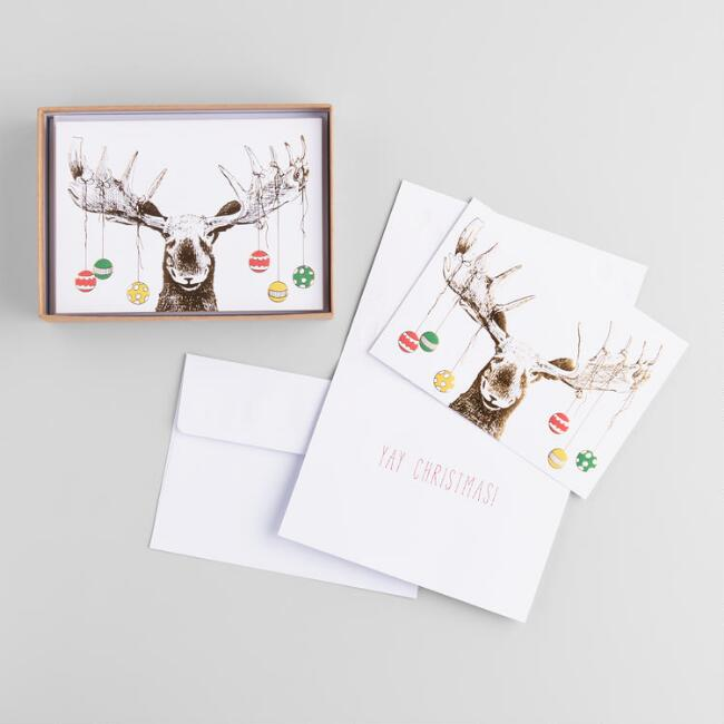 Moose With Ornaments Boxed Holiday Cards Set Of 15