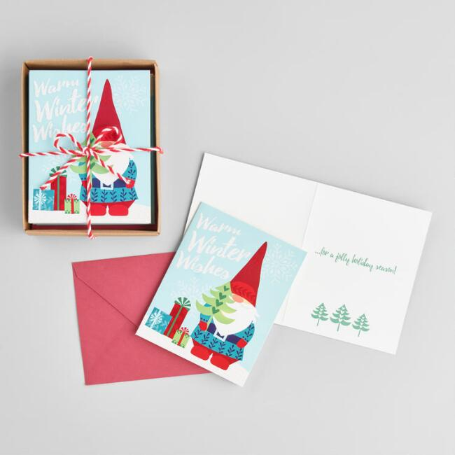 gnome warm winter wishes boxed holiday cards set of 15