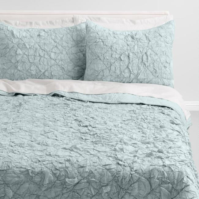 Pale Aqua Gathered Bedding Set