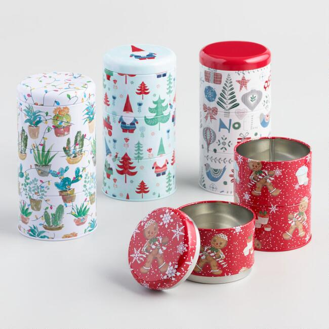Stacking Holiday Cookie Tins Set of 4