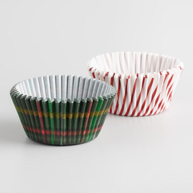 Plaid and Peppermint 50 Count Cupcake Liners Set of 2