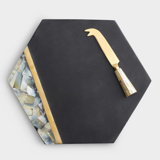 Black Slate And Mother Of Pearl Cheese Board Knife Set World Market