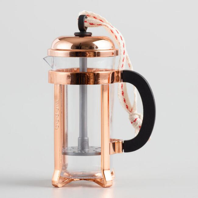 Mini Bodum Copper Chambord French Press Holiday Ornament