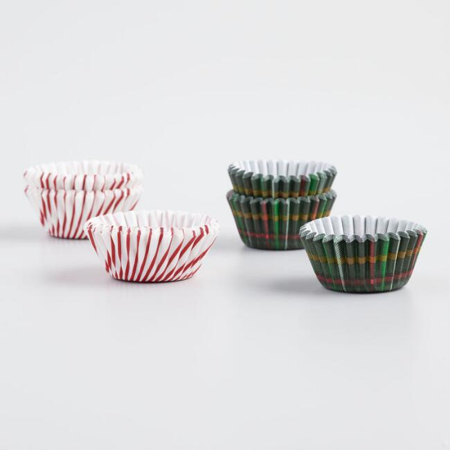 Plaid and Peppermint 75 Count Mini Cupcake Liners Set of 2
