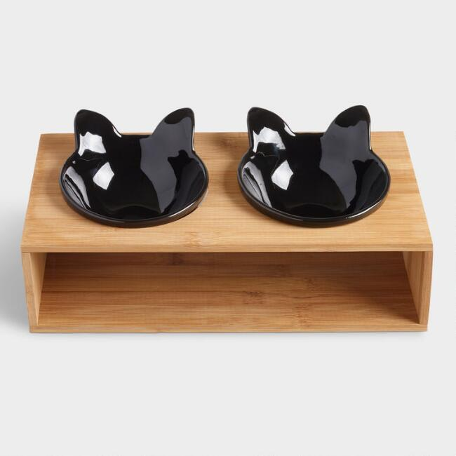 Black Cat Bowls with Stand 3 Piece Set