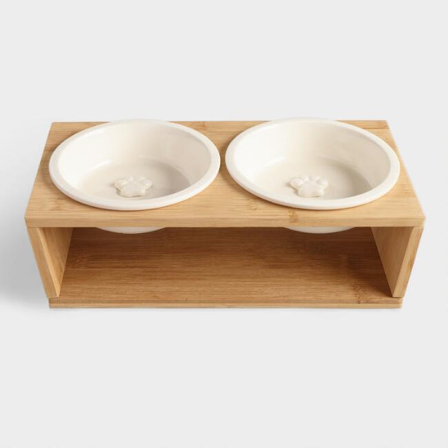 White Dog Bowls with Stand 3 Piece Set