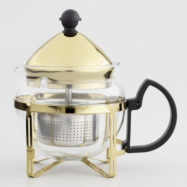 Gold Pagoda and Glass Infuser Teapot with Stand