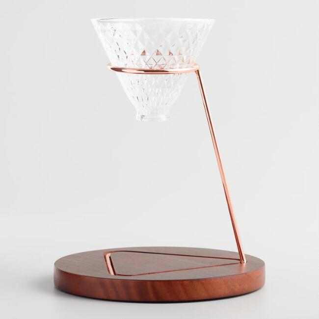 Copper Pour Over Coffee Stand with Faceted Glass Dripper