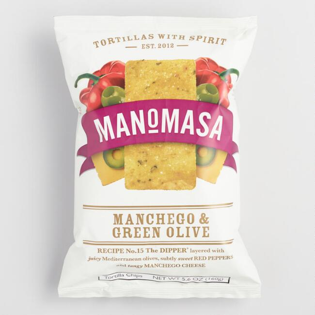 Manomasa Manchego and Green Olive Tortilla Chips