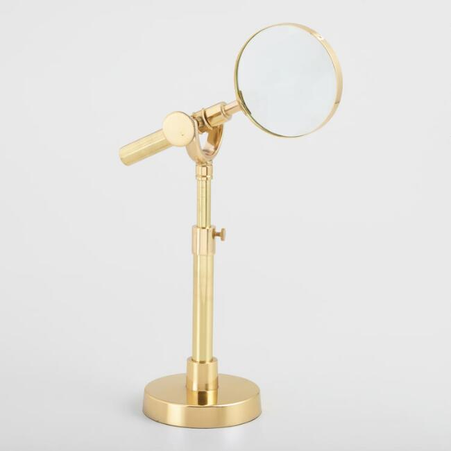 Gold Magnifying Glass on Stand