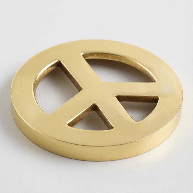Gold Peace Sign Decor