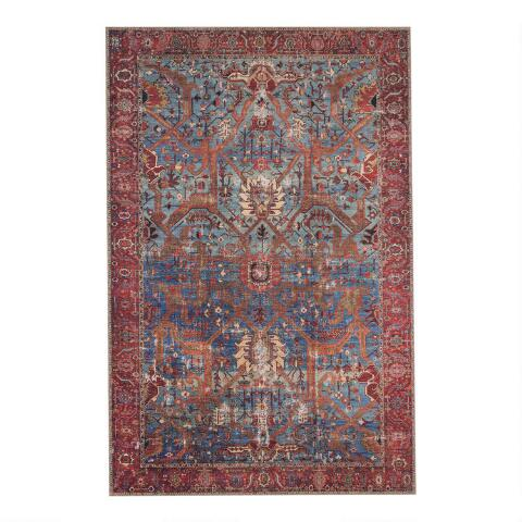 Blue And Red Patterned Phoenix Area Rug