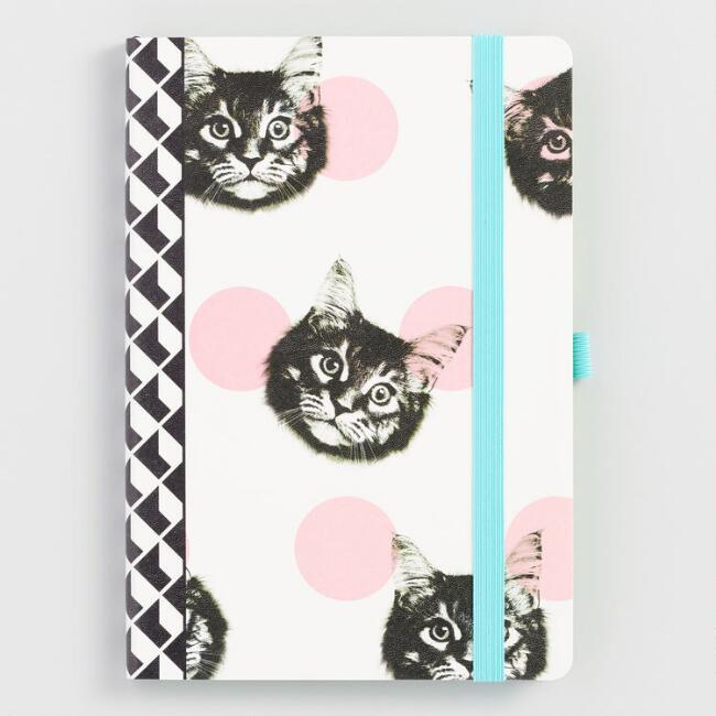 Black, White and Pink Cat Journal
