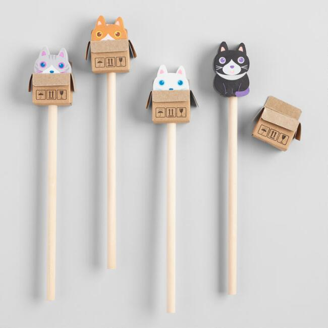 Cat Eraser Pencil Toppers Set of 4